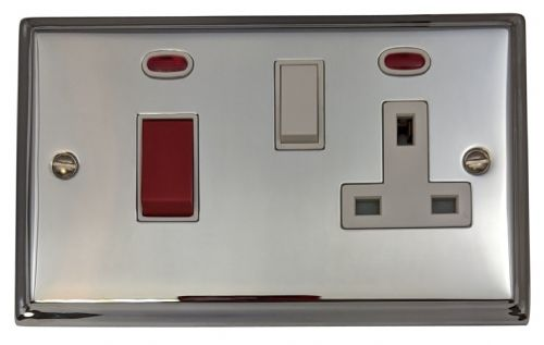 G&H DC29W Deco Plate Polished Chrome 45 Amp DP Cooker Switch & 13A Switched Socket